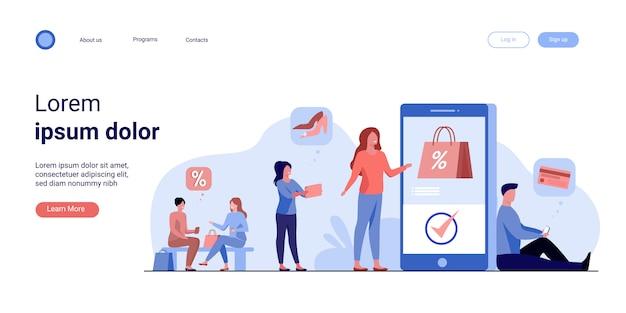 Kunden mit smartphones, die online einkaufen