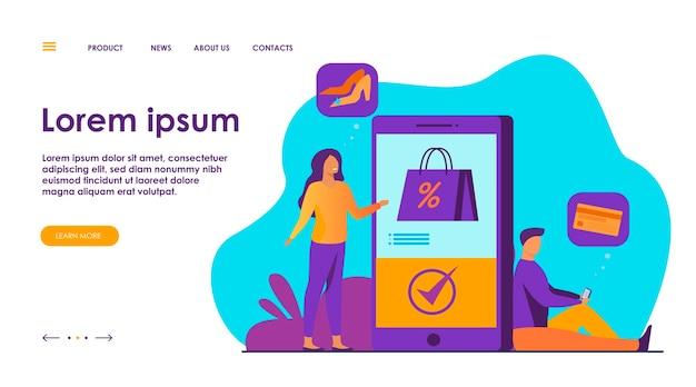 Kunden mit smartphones, die online einkaufen.