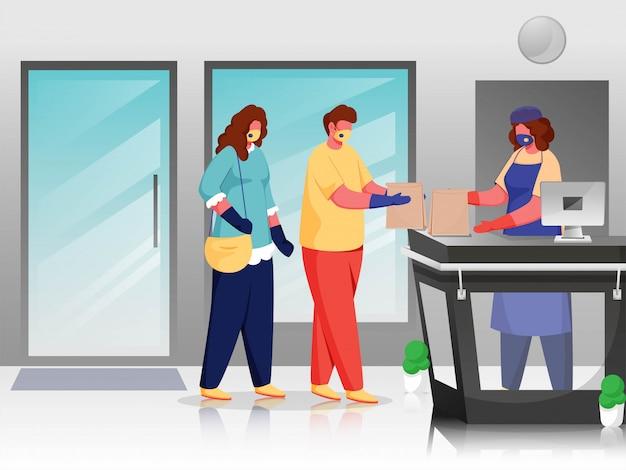 Kunden und käufer tragen eine schutzmaske am schalter mit sozialer distanz, um coronavirus vorzubeugen.