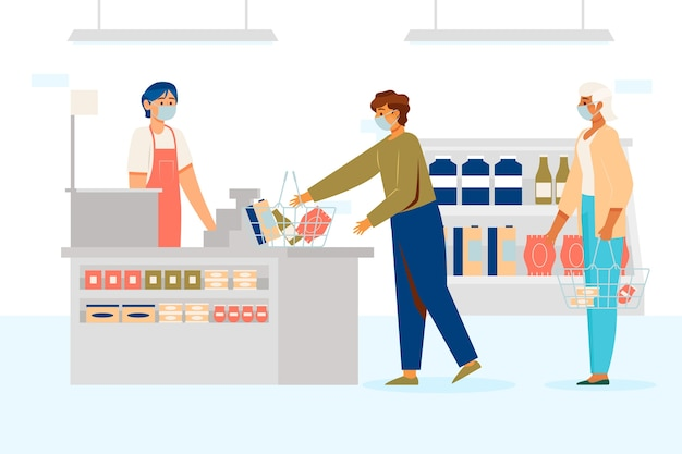 Kunden und verkäufer, die medizinische masken in supermärkten tragen