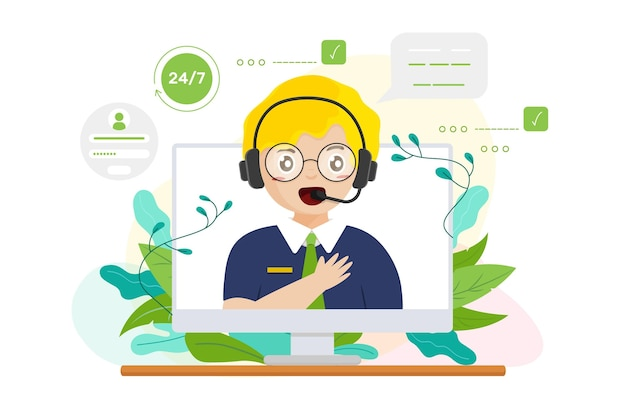 Kundenbetreuung der organischen flachen illustration