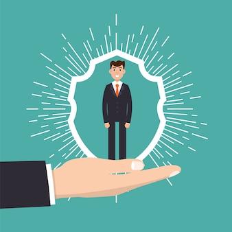 Kundenbetreuung, kundenbindung oder treuekonzept. geschäftsmann in der hand hält kunden.