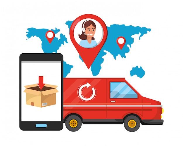 Kundenbetreuungslogistik-service-karikatur