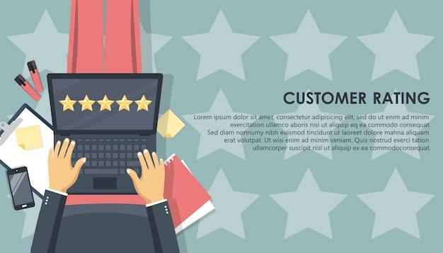 Kundenbewertung auf dem laptop