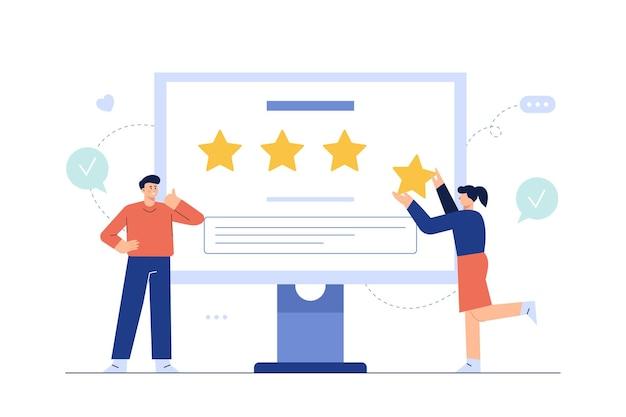 Kundenbewertung auf dem webbildschirm, erfolgreiche 4/4-sterne-geschäftsmeinung