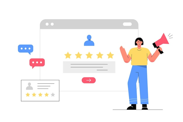 Kundenbewertung auf dem webbildschirm, erfolgreiche 5-sterne-geschäftsmeinung
