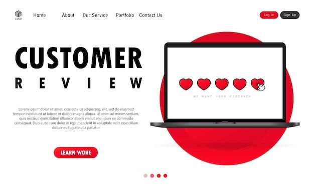 Kundenbewertung auf laptop-banner