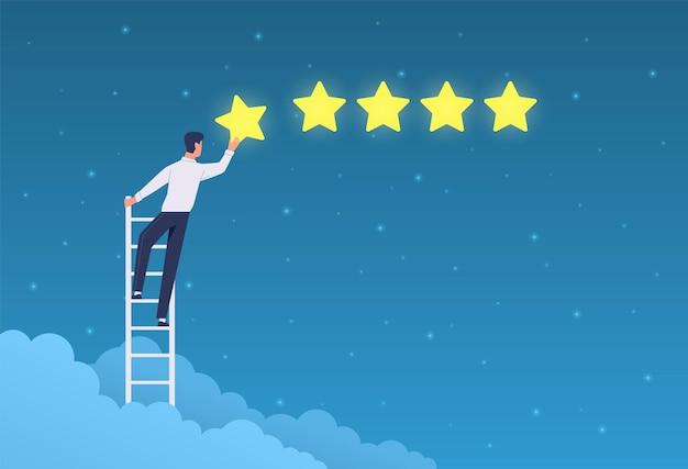 Kundenbewertung. der geschäftsmann steht auf der leiter und gibt fünf sterne. positives feedback zu qualitätsprodukten, bewertungssystem-app, flaches vektorkonzept der kundenmeinung