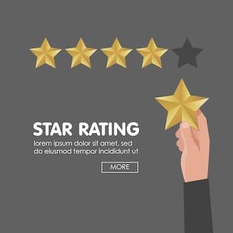 Kundenbewertung geben 5 sterne. positives feedback-konzept. vektor-illustration
