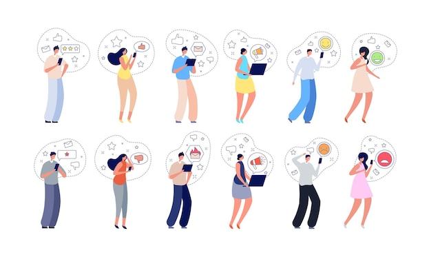 Kundenbewertung. personenbefragung, meinungsdienste oder online-tipps. isolierte frau mann geben bewertung, testimonial oder review-vektor-illustration. feedback umfrage meinung, qualitätsservice