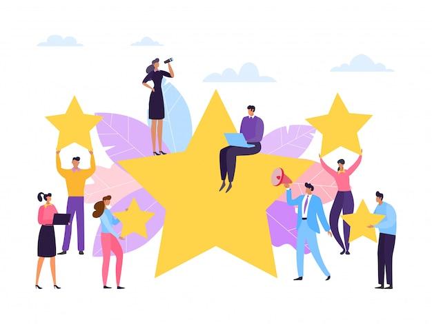 Kundenbewertung, service rate stars konzept, illustration. mitarbeiterfeedback, geschäftszufriedenheit für gute servicequalität