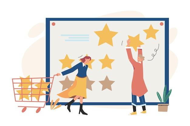 Kundenbewertungen geben eine bewertung und ein feedback