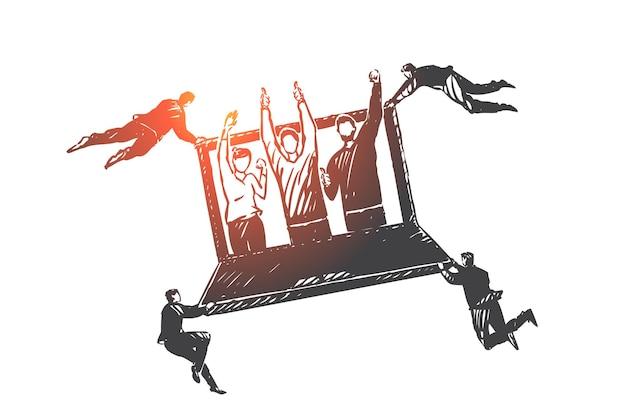 Kundenbeziehungsmanagement, crm-konzeptskizze. geschäftsleute fliegen und halten laptop mit zufriedenen zufriedenen kunden auf dem bildschirm. hand gezeichnete isolierte vektorillustration