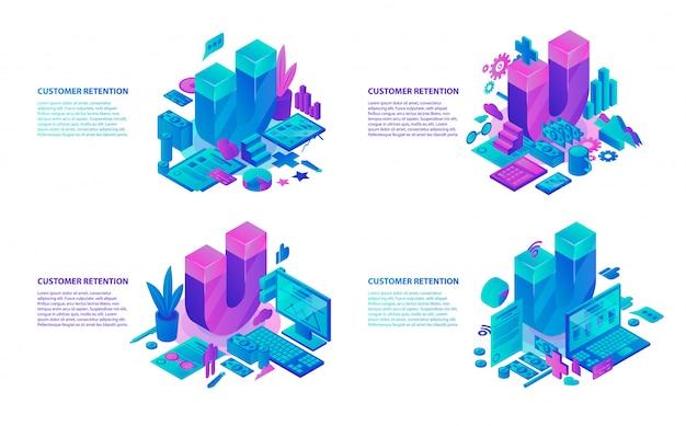 Kundenbindungsbanner eingestellt. isometrischer satz der kundenbindungsvektorfahne für webdesign