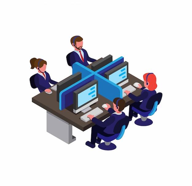 Kundendienst, call center, mann und frau in blauer anzuguniform arbeiten am arbeitsplatz bürokommunikation mit dem kunden.