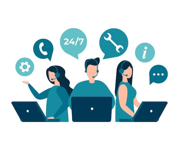 Kundendienst-hotline-betreiber beraten kunden rund um die uhr weltweites technisches online-support-center