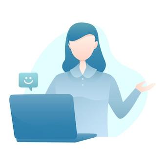 Kundendienst-illustration mit dem frauen-video, das zu den kunden mit lächeln emoticon benennt