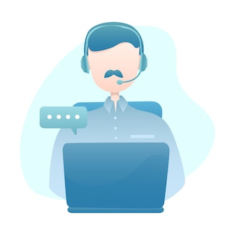 Kundendienst-illustration mit dem mann-abnutzungs-kopfhörer, der mit kunden über laptop plaudert