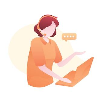 Kundendienst-illustration mit frauen-abnutzungs-kopfhörer und plaudern mit kunden