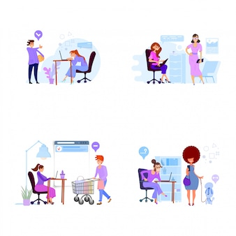 Kundendienstabteilungskonzept, flacher stil, arbeit mit personal