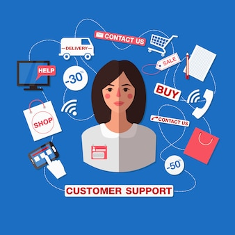 Kundendienstkonzept mit frau. support-callcenter