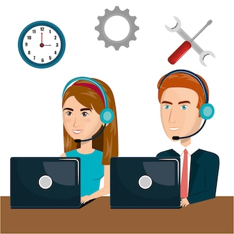 Kundendienstvertreter, der on-line-vektorillustrationsdesign arbeitet
