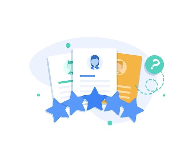 Kundenfeedbackporträts von drei personen und bewertungssterne untenkundenbewertung