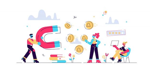 Kundenfeedbacks analysieren, mag landwirtschaft. lead-generierung. zufriedenheits- und loyalitätsanalyse, zunehmende kundenbindung, marketing-tool-konzept. isolierte konzept kreative illustration