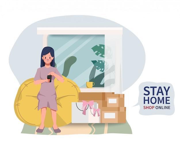 Kundenfrau charakter zum online-shopping auf dem handy. bleiben sie zu hause und kaufen sie beim mobilen einkaufen online ein.