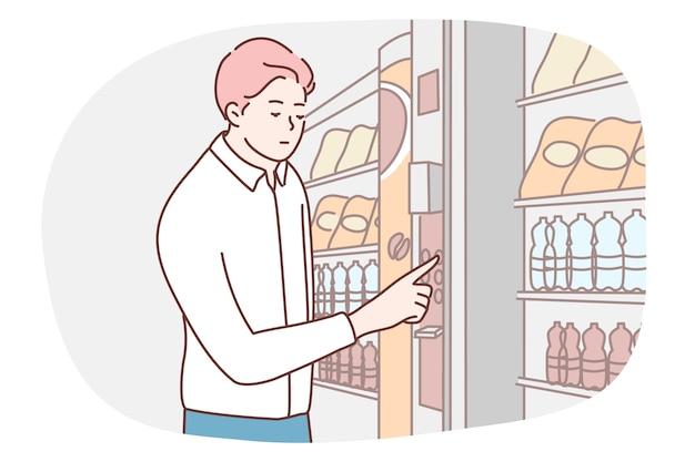 Kundenkäufer des hungrigen geschäftsmannmanagers, der knusprige getränke am elektronischen verkaufsautomaten kauft.