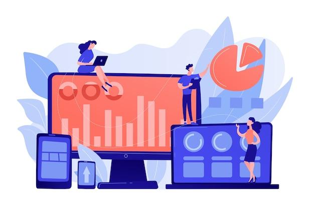 Kundenmanager, die mit kreisdiagrammen und geräten von kunden arbeiten. kundensegmentierung, internet-marketing-tool, zielgruppen-sammlungskonzept. isolierte illustration des rosa korallenblauvektors