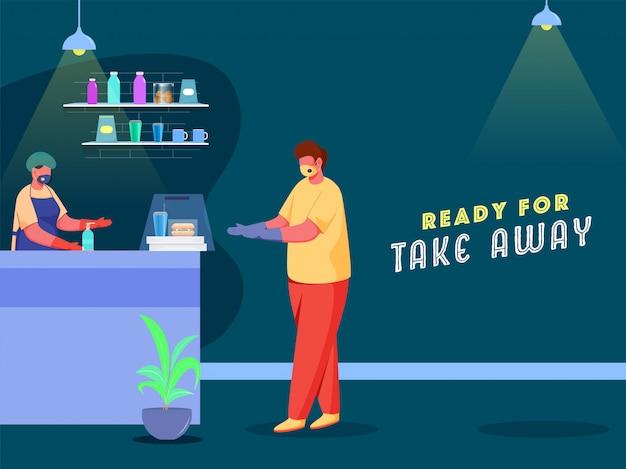 Kundenmann, der lebensmittelpaket vom käufer am schalter nimmt tragen sie beide schutzmaske, um von coronavirus zu schützen.