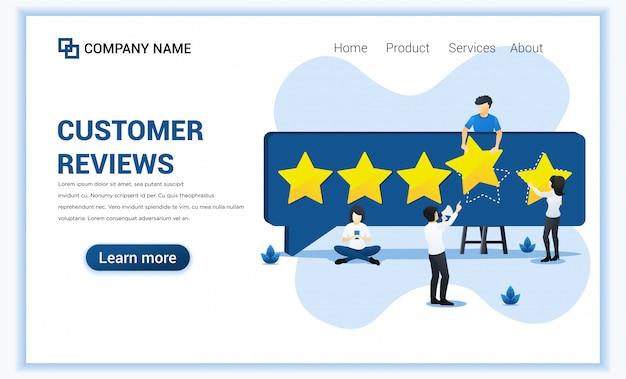 Kundenrezensionskonzept mit den leuten, die fünf-sternebewertung, positives feedback, zufriedenheit und bewertung für produkt oder dienstleistungen geben.