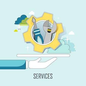 Kundenservice-konzept: eine hand, die werkzeuge im linienstil hält