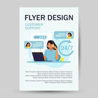 Kundenservice-konzept. flyer-design. frau mit kopfhörern und mikrofon mit laptop. unterstützung, hilfe, callcenter. vektor-illustration. flacher stil