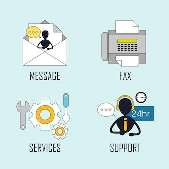 Kundenservice-konzept: nachricht-fax-service-unterstützung im linienstil