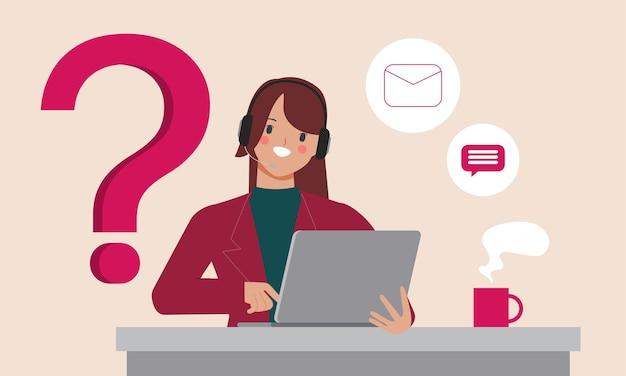 Kundenservice und call center charakter flaches design. flaches cartoon-charakter-design.