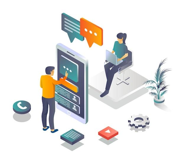 Kundenservice und kundengespräch mit social media