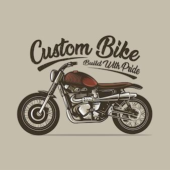 Kundenspezifische fahrradmotorradgestalt-weinlesevektorillustration