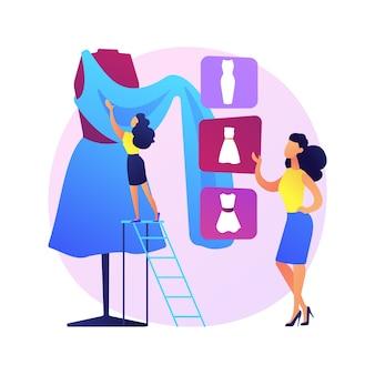 Kundenspezifische kleidung nähen. individuelles kleidungsdesign, handgefertigte kleidung, professionelle schneiderei. arbeiter schneiderkleid in der näherin werkstatt.