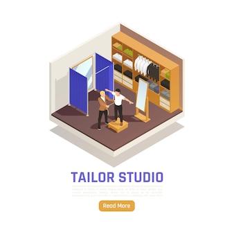 Kundenspezifische maßgeschneiderte isometrische illustration des modeatelierstudios