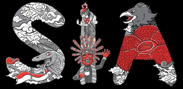 Kundenspezifische schriftartbeschriftungs-gekritzel komodo und garuda indonesien-illustration