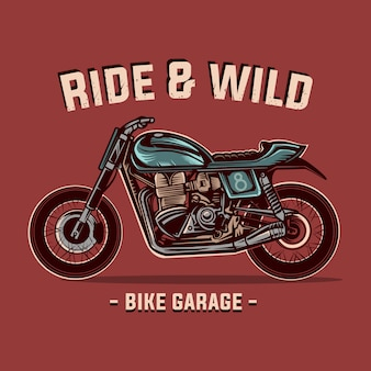 Kundenspezifische vintage motorradvektorillustrations-fahrradgarage