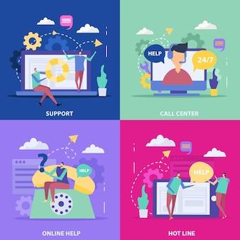 Kundensupport-servicekonzept mit callcenter-hotline und online-hilfe isoliert