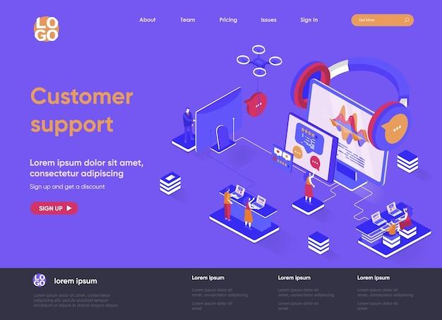 Kundenunterstützung 3d isometrische landingpage website illustration mit personen zeichen