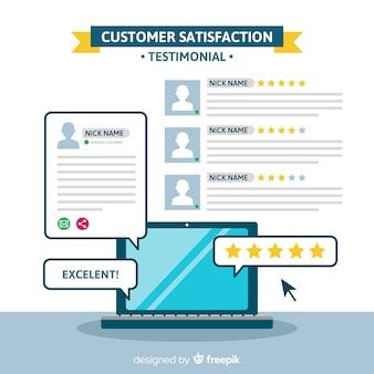 Kundenzufriedenheitskonzept in der flachen art