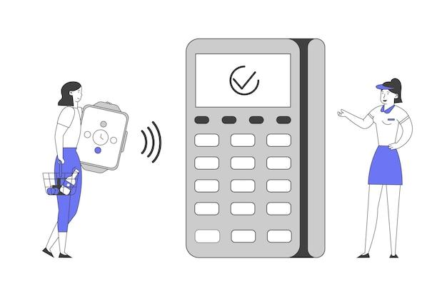 Kundin verwenden smart watch zum bezahlen im supermarkt.