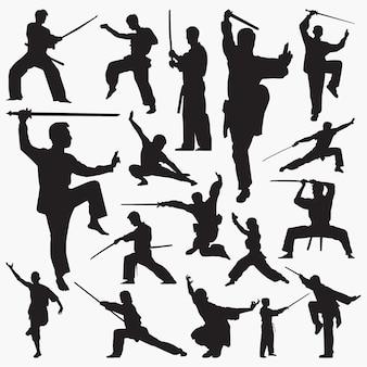 Kung fu silhouetten