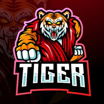 Kung fu tiger esport logo maskottchen design
