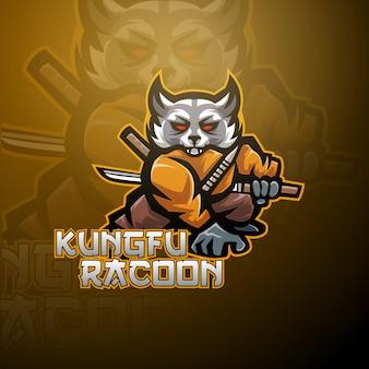 Kung fu waschbär esport maskottchen logo